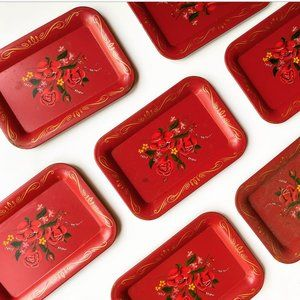 Vintage Set Floral Hand-painted Metal Trays Small